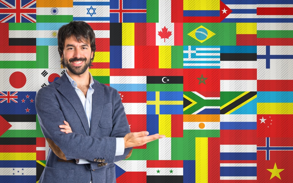 different flags on the background