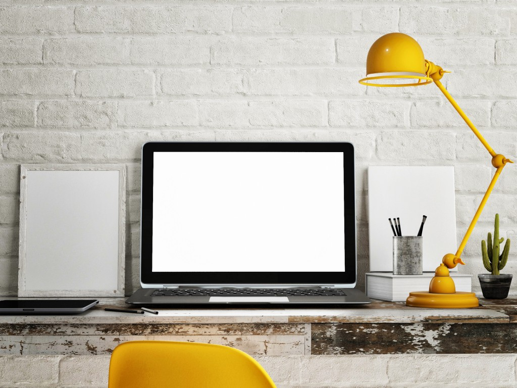 Work desk with yellow lamp